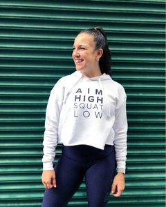 Aim High Squat Low White Crop Hoodie