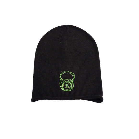 Black Beanie with Green Kettlebell