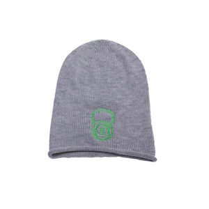 Grey Beanie with Green Kettlebell