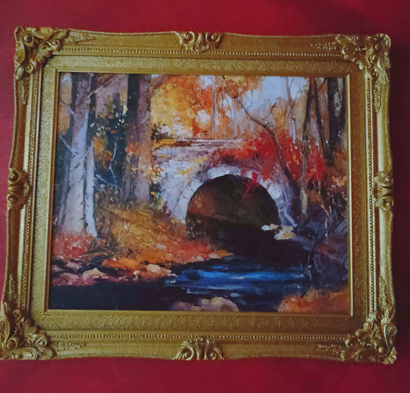 Impressionist Painting- Autumn Bridge