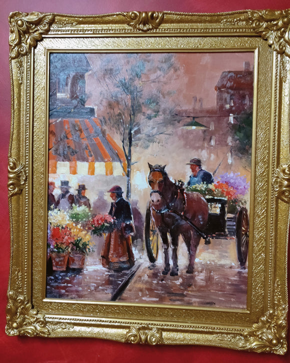 Impressionist Painting-Horse and cart scene