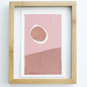 Original Moon + Mountain Linocut Ink Block Print