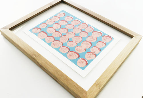 Original Framed Dots Linocut Ink Block Print