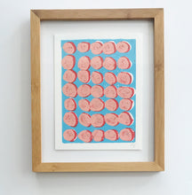 Load image into Gallery viewer, Original Framed Dots Linocut Ink Block Print