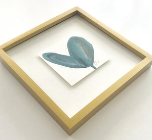 Original Gold Wood Framed Blue Heart Painting