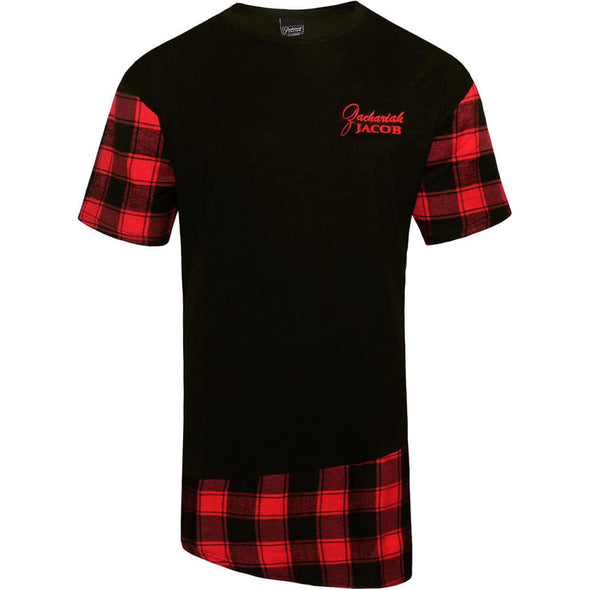Mens Longline Flannel T-Shirts Black/Red