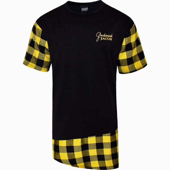 Mens Longline Flannel T-Shirts Black/Yellow