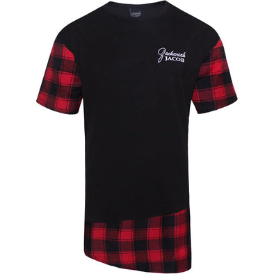 Mens Longline Flannel T-Shirts White Logo