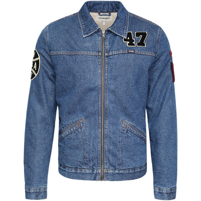 Mens Wrangler Hawkins Zip-up Denim Jacket