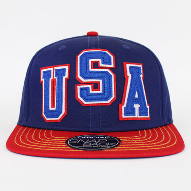Official Snapbacks USA Letterman 2 Tone Flat Cap Basball Hat