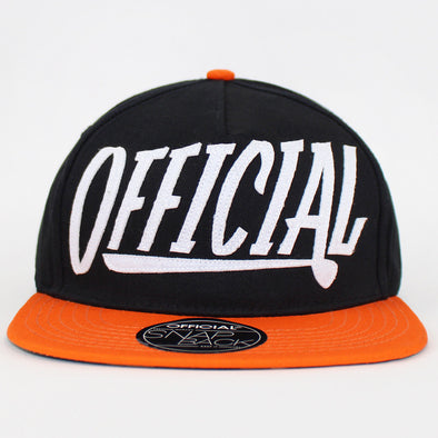 Official Strapback Cap Black And Orange Applique Hat Skate Flat Cap