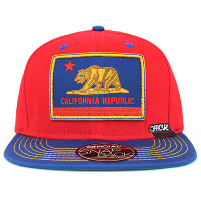 Official Snapback California Republic Bear Logo Cali Patriot Flat Baseball Cap