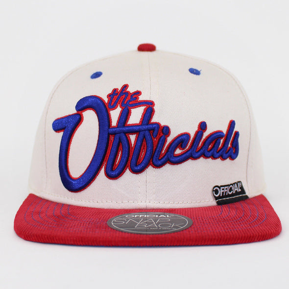 Official Snapback Cream / Red the Officials Design Flat Baseball Cap