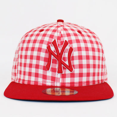 New Era 59Fifty New York Yankees Red G-Plaid Fitted Baseball Cap