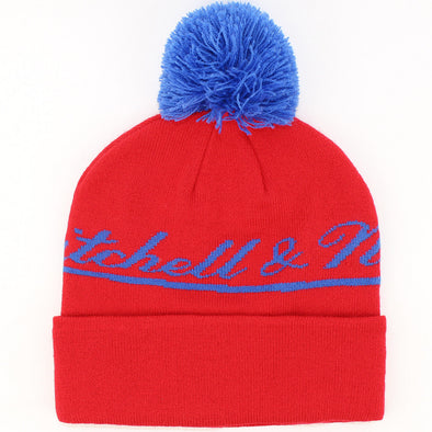 Mens Mitchell & Ness Red Bobble Hat