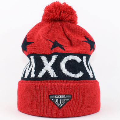 Mens 10 Deep Numerals Bobble Hat Red