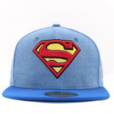 New Era Denim Hero Superman Fitted Cap Size 7 1/4
