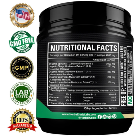 herbal code labs hcl spirulina powder mushrooms extract usda organic plant protein supergreens