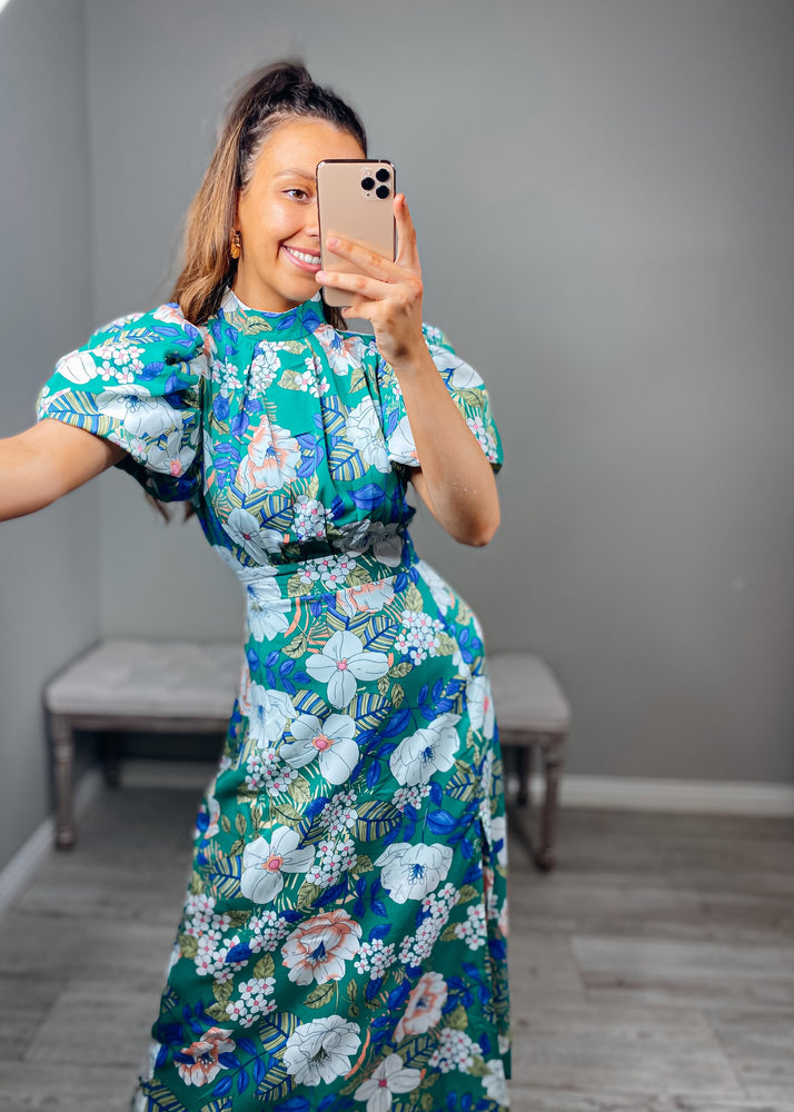 Green Floral High Neck Puff Sleeve Midi Dress