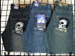 Men's Skull Embroidered Jeans