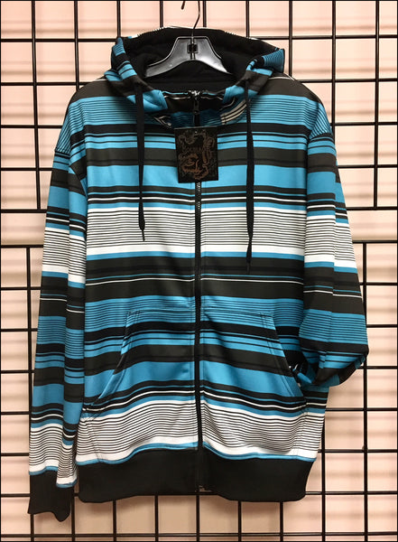 Young Men's - Full zip Hoodie - Stripes - Off Price - Wholesale