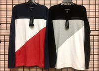 Men's - Long Sleeve - Color Block - Tee - Wholesale - Off Price