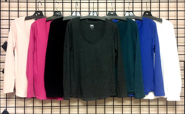 Ladies Solid Scoop Neck L/S Top