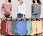 Wholesale Ladies 3/4 Raglan Sleeve Slub Tee