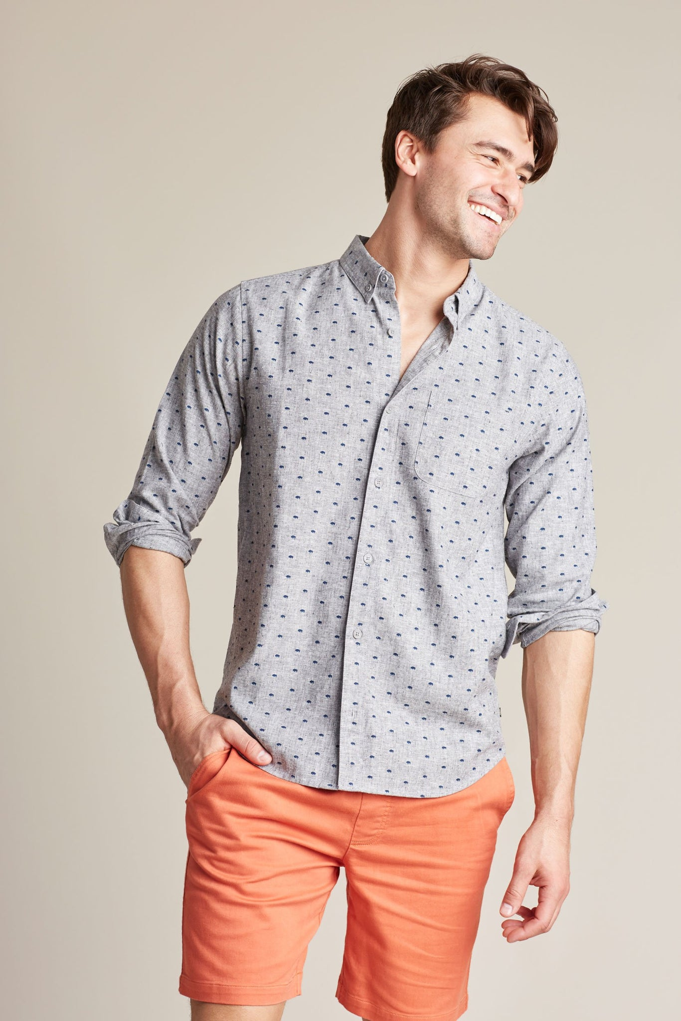 Men's Bison Print Button Down