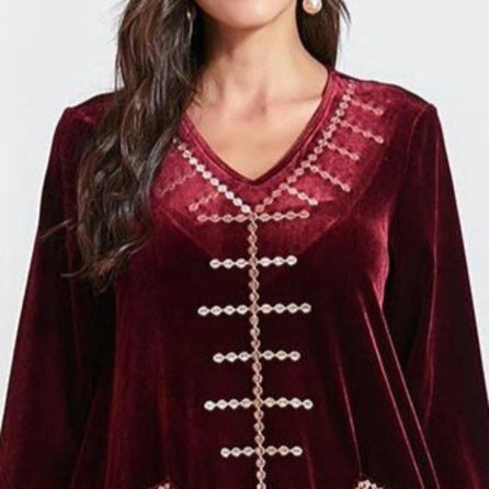 Fashionkdo - Robe Velours Rouge à Poches Brodé Motif Maghreb