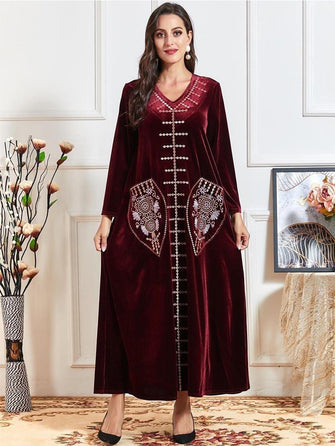 Robe Velours Rouge à Poches Brodé Motif Maghreb