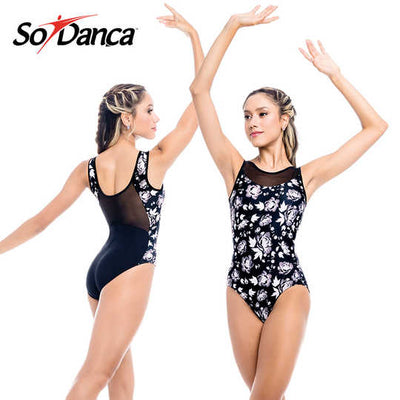 So Danca Floral Print With Mesh Accent Leotard