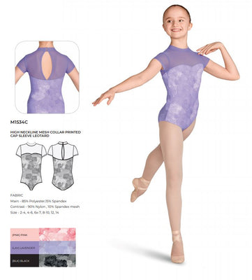 Bloch High Neck Mesh Cap Sleeve Leotard