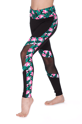 Bloch Kaia Floral Print And Mesh Leggings