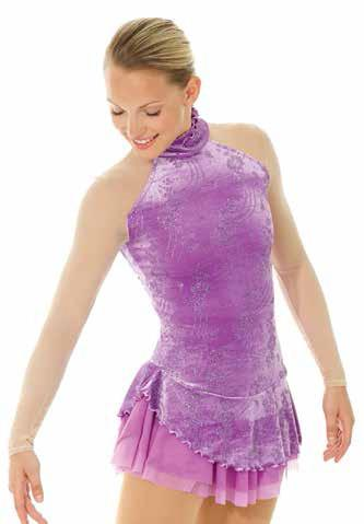 Mondor - Mondor Highneck Velvet Pattern Skate Dress W/mesh