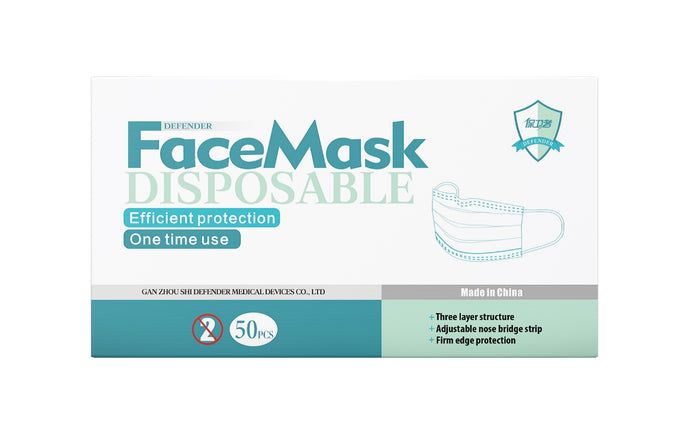 Defender Disposable Face Mask, 5 x 10 Masks (50 Face Masks)