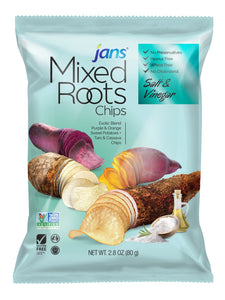 Jans Mixed Roots Chips, Salt & Vinegar, 2.8 oz, Pack of 2