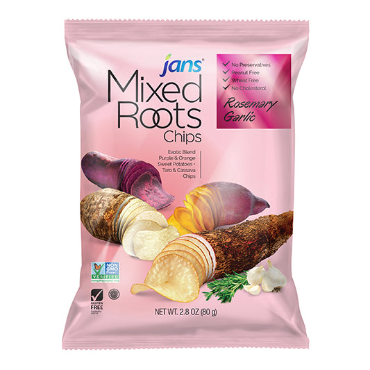 Jans Mixed Roots Chips, Rosemary Garlic, 2.8 oz, Pack of 2