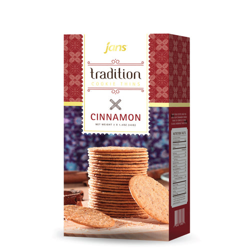 Jans Tradition Cookie Thins, Cinnamon, 4.2 oz, Pack of 6