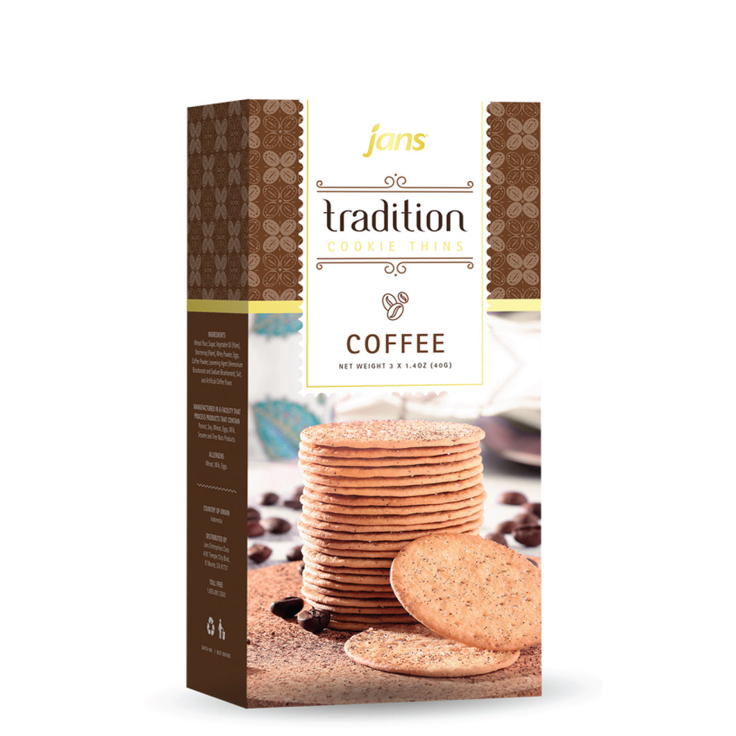 Jans Tradition Cookie Thins, Coffee, 4.2 oz, Pack of 6