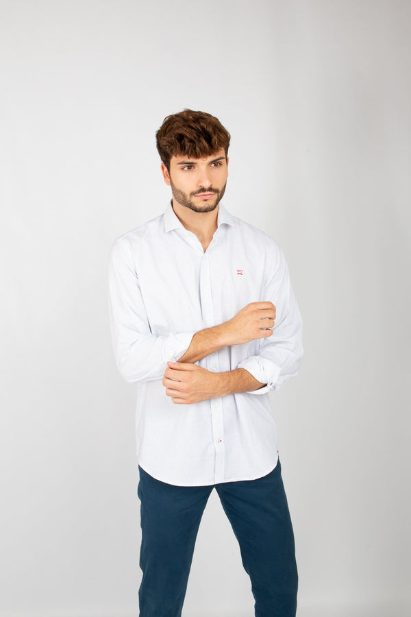 CAMISA ESTAMPADA DIAGONAL BLANCO