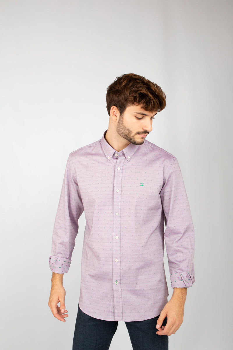 CAMISA OXFORD MINI CUADROS GRANATE