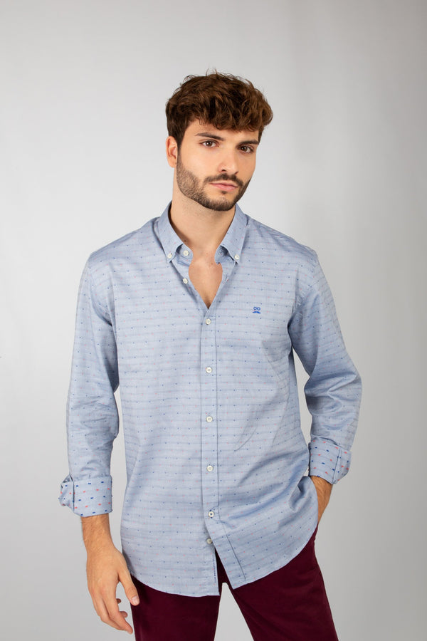 CAMISA OXFORD MINI CUADROS MARINO