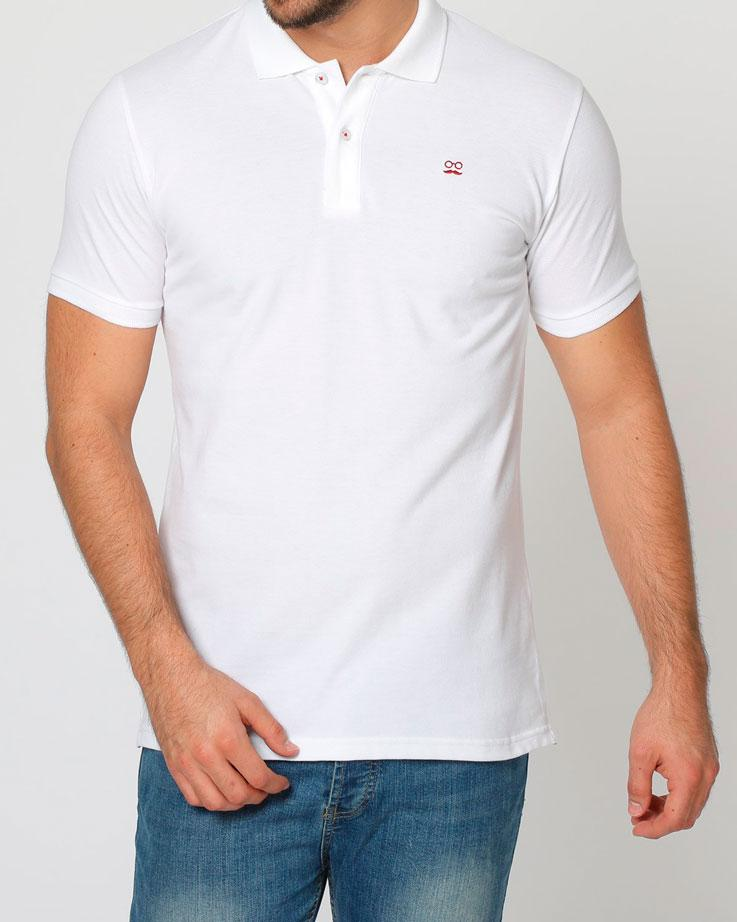 BASIC POLO PIQUET BLANCO ROJO