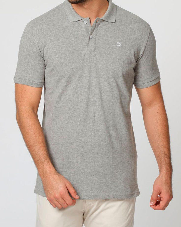 BASIC POLO PIQUET GRIS BLANCO