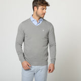 "BASIC ""V"" NECK JERSEY GRIS BLANCO"
