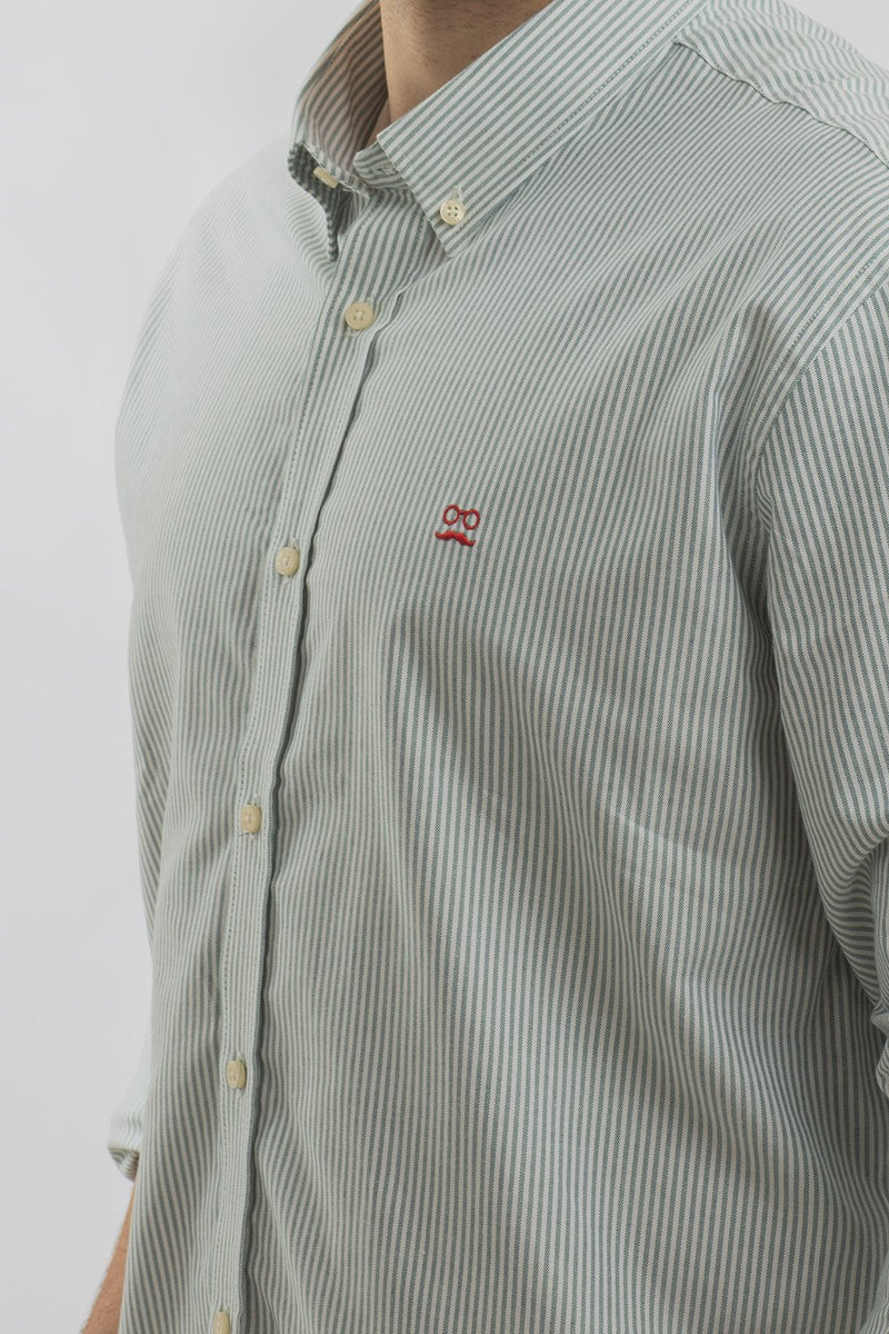 CAMISA OXFORD RAYAS VERDE BOSQUE