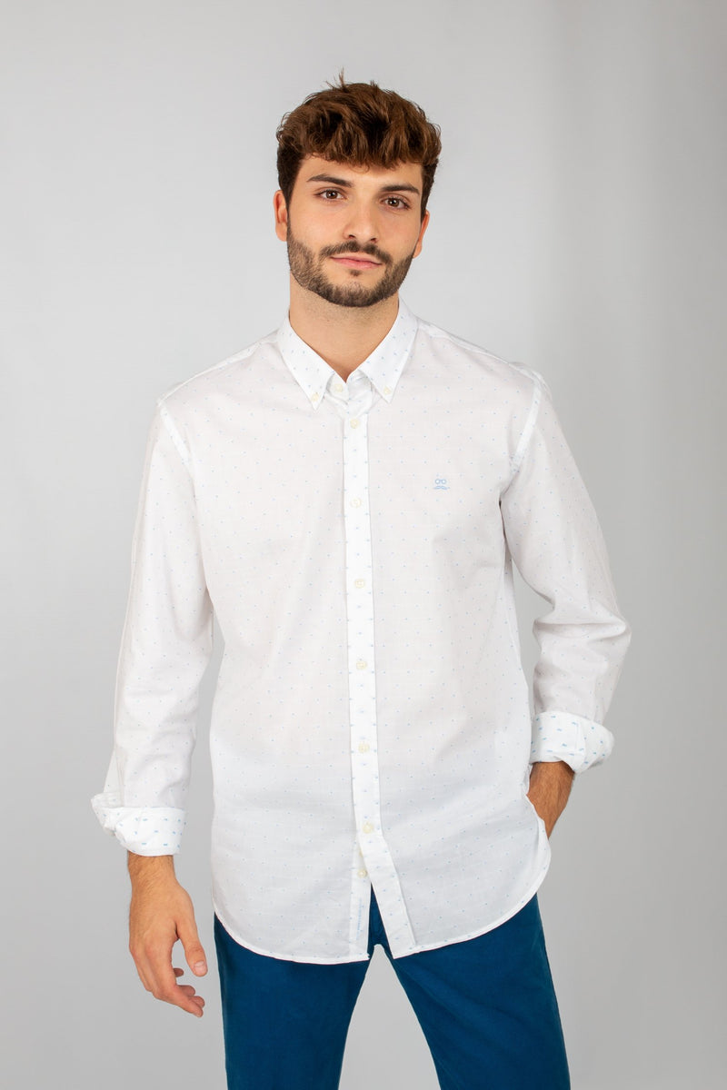 CAMISA OXFORD MINI CUADRO BLANCO