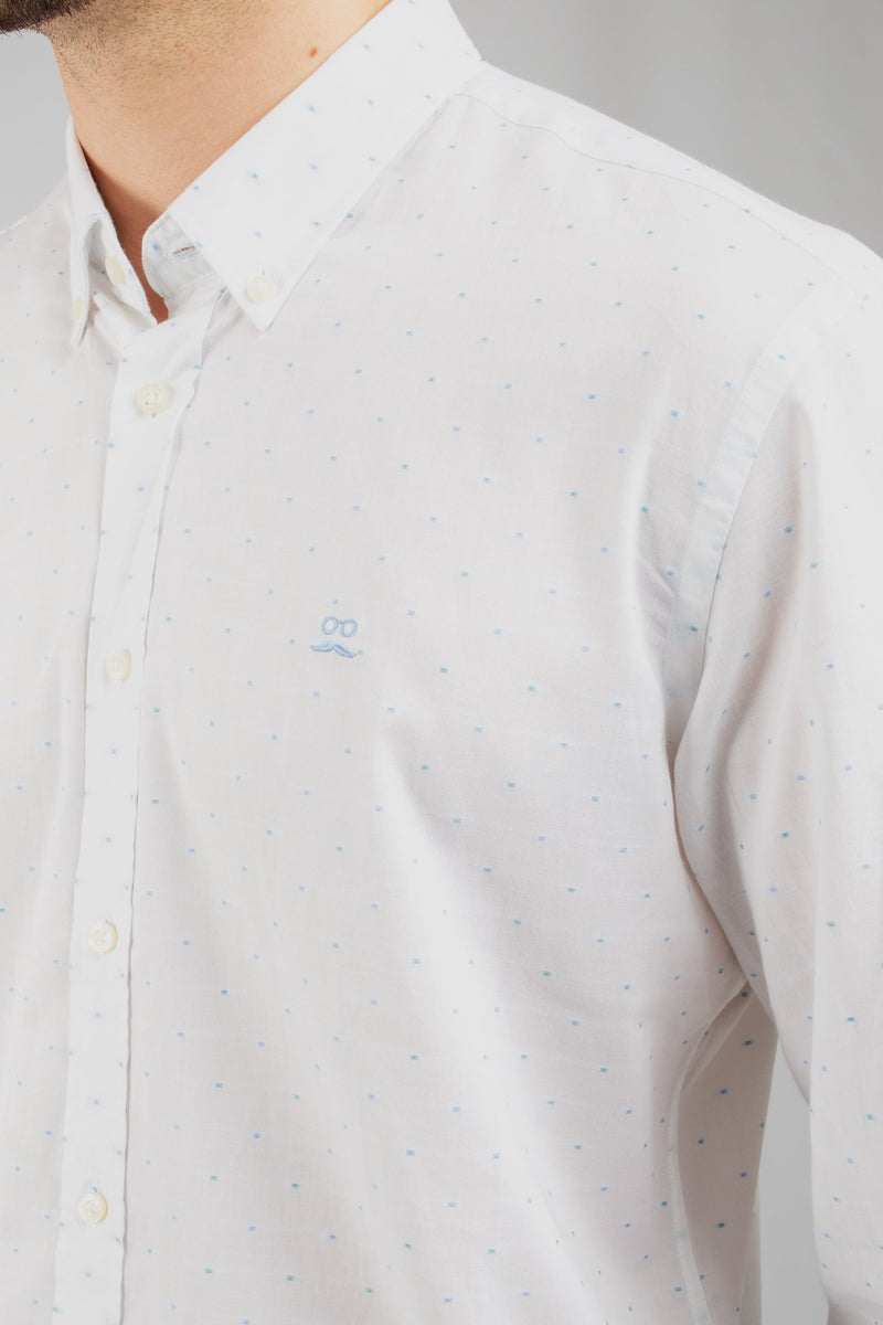 CAMISA OXFORD MINI CUADROS BLANCA