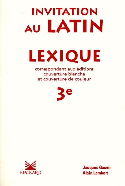 Invitation au latin, lexique 3e